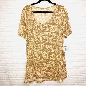 LulaRoe Perfect T Camel Ivory Print Shirt